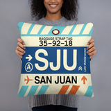 SJU San Juan Throw Pillow • Airport Code & Vintage Baggage Tag Design