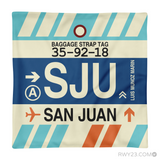 RWY23 - SJU San Juan, Puerto Rico Airport Code Throw Pillow - Aviation Gift Travel Gift