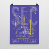 "RWY23 - SLC Salt Lake City Airport Diagram Poster - Aviation Art - Birthday Gift, Christmas Gift, Home and Office Decor - 18""x24"" Wall"