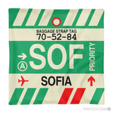 RWY23 - SOF Sofia, Bulgaria Airport Code Throw Pillow - Aviation Gift Travel Gift