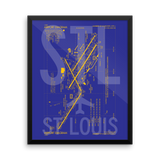 "RWY23 - STL St. Louis Airport Diagram Framed Poster - Aviation Art - Birthday Gift, Christmas Gift, Home and Office Decor - 16""x20"" Wall"
