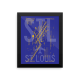 "RWY23 - STL St. Louis Airport Diagram Framed Poster - Aviation Art - Birthday Gift, Christmas Gift, Home and Office Decor  - 8""x10"" Wall"