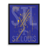 "RWY23 - STL St. Louis Airport Diagram Framed Poster - Aviation Art - Birthday Gift, Christmas Gift, Home and Office Decor - 18""x24"" Wall"