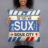 SUX Sioux City Throw Pillow • Airport Code & Vintage Baggage Tag Design