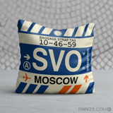 RWY23 - SVO Moscow, Russia Airport Code Throw Pillow - Birthday Gift Christmas Gift