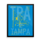 "RWY23 - TPA Tampa Airport Diagram Framed Poster - Aviation Art - Birthday Gift, Christmas Gift, Home and Office Decor - 16""x20"" Wall"