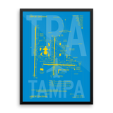 "RWY23 - TPA Tampa Airport Diagram Framed Poster - Aviation Art - Birthday Gift, Christmas Gift, Home and Office Decor - 18""x24"" Wall"