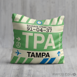 RWY23 - TPA Tampa, Florida Airport Code Throw Pillow - Birthday Gift Christmas Gift