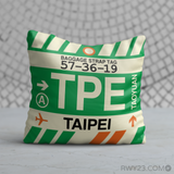 RWY23 - TPE Taipei, Taiwan Airport Code Throw Pillow - Birthday Gift Christmas Gift