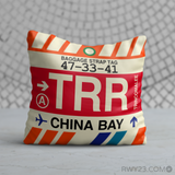RWY23 - TRR China Bay, Sri Lanka Airport Code Throw Pillow - Birthday Gift Christmas Gift