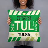 TUL Tulsa Throw Pillow • Airport Code & Vintage Baggage Tag Design