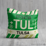 RWY23 - TUL Tulsa, Oklahoma Airport Code Throw Pillow - Birthday Gift Christmas Gift