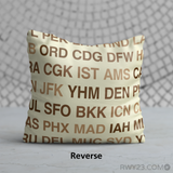 RWY23 - LUX Luxembourg,  Airport Code Throw Pillow - Reverse