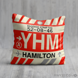 RWY23 YHM Hamilton Airport Code Baggage Tag Throw Pillow 03