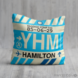 RWY23 YHM Hamilton Airport Code Baggage Tag Throw Pillow 05
