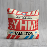 RWY23 YHM Hamilton Airport Code Baggage Tag Throw Pillow 09