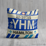 RWY23 YHM Hamilton Airport Code Baggage Tag Throw Pillow 01