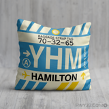 RWY23 YHM Hamilton Airport Code Baggage Tag Throw Pillow 11