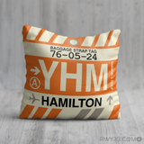 RWY23 YHM Hamilton Airport Code Baggage Tag Throw Pillow 13
