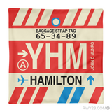 RWY23 YHM Hamilton Airport Code Baggage Tag Throw Pillow 10
