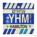 YHM Hamilton Airport Code Baggage Tag Pillow