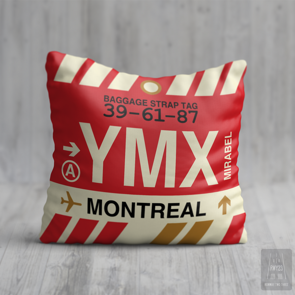 RWY23 - YMX Montreal, Quebec Airport Code Throw Pillow - Birthday Gift Christmas Gift