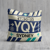 RWY23 - YQY Sydney, Nova Scotia Airport Code Throw Pillow - Birthday Gift Christmas Gift
