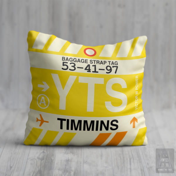 RWY23 - YTS Timmins, Ontario Airport Code Throw Pillow - Birthday Gift Christmas Gift