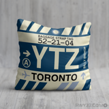 RWY23 - YTZ Toronto, Ontario Airport Code Throw Pillow - Birthday Gift Christmas Gift