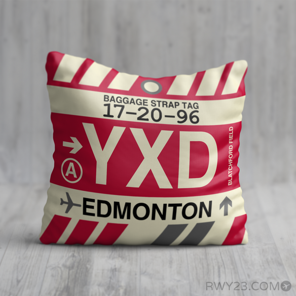 RWY23 - YXD Edmonton, Alberta Airport Code Throw Pillow - Birthday Gift Christmas Gift