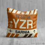 RWY23 - YZR Sarnia, Ontario Airport Code Throw Pillow - Birthday Gift Christmas Gift