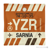 RWY23 - YZR Sarnia, Ontario Airport Code Throw Pillow - Aviation Gift Travel Gift