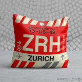 RWY23 - ZRH Zurich, Switzerland Airport Code Throw Pillow - Birthday Gift Christmas Gift