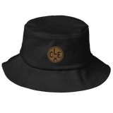 RWY23 - CLE Cleveland Airport Code Bucket Hat - City-Themed Merchandise - Roundel Design with Vintage Airplane - Image 1