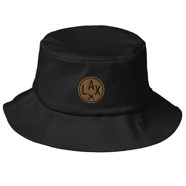 RWY23 - LAX Los Angeles Airport Code Bucket Hat - City-Themed Merchandise - Roundel Design with Vintage Airplane - Image 1