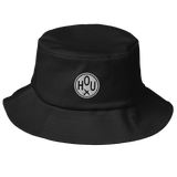 RWY23 - HOU Houston Airport Code Bucket Hat - City-Themed Merchandise - Roundel Design with Vintage Airplane - Image 1