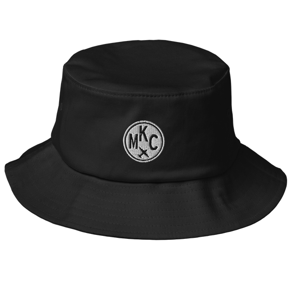 RWY23 - MKC Kansas City Airport Code Bucket Hat - City-Themed Merchandise - Roundel Design with Vintage Airplane - Image 1