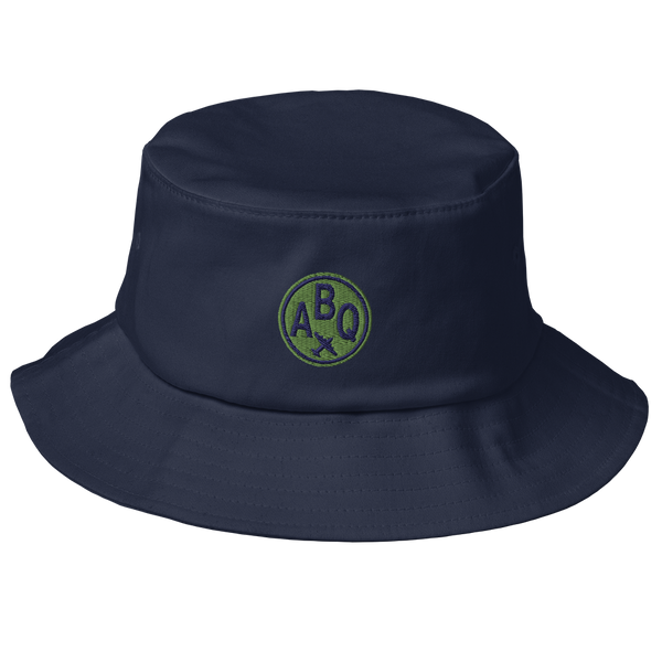 RWY23 - ABQ Albuquerque Airport Code Bucket Hat - City-Themed Merchandise - Roundel Design with Vintage Airplane - Image 1