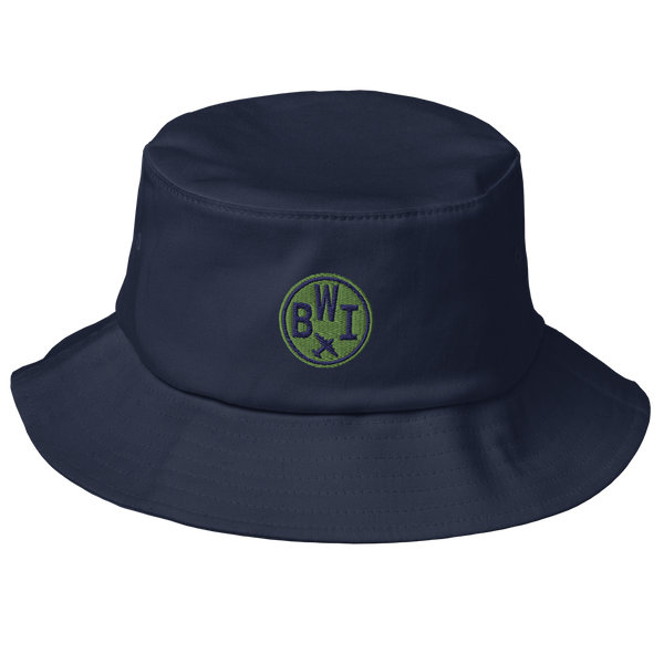 RWY23 - BWI Baltimore-Washington Airport Code Bucket Hat - City-Themed Merchandise - Roundel Design with Vintage Airplane - Image 1