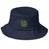 RWY23 - CLT Charlotte Airport Code Bucket Hat - City-Themed Merchandise - Roundel Design with Vintage Airplane - Image 1