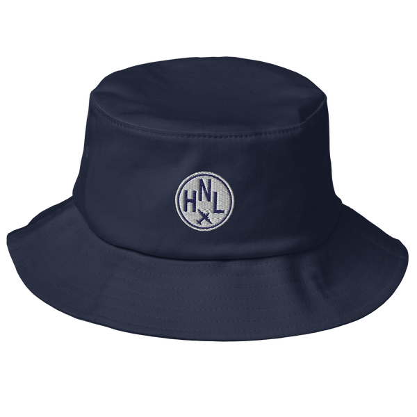 RWY23 - HNL Honolulu Airport Code Bucket Hat - City-Themed Merchandise - Roundel Design with Vintage Airplane - Image 1