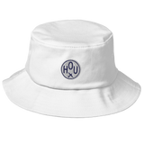 RWY23 - HOU Houston Airport Code Bucket Hat - City-Themed Merchandise - Roundel Design with Vintage Airplane - Image 6