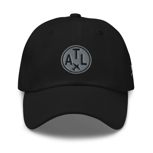 RWY23 - ATL Atlanta Airport Code Dad Hat - City-Themed Merchandise - Roundel Design with Vintage Airplane - Image 1