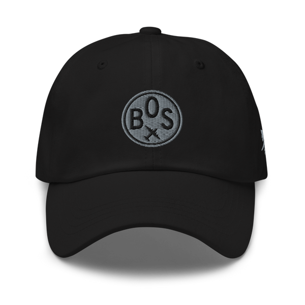 RWY23 - BOS Boston Airport Code Dad Hat - City-Themed Merchandise - Roundel Design with Vintage Airplane - Image 1