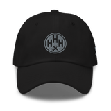 RWY23 - HHH Hilton Head Island Airport Code Dad Hat - City-Themed Merchandise - Roundel Design with Vintage Airplane - Image 1