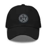 RWY23 - MSY New Orleans Airport Code Dad Hat - City-Themed Merchandise - Roundel Design with Vintage Airplane - Image 1