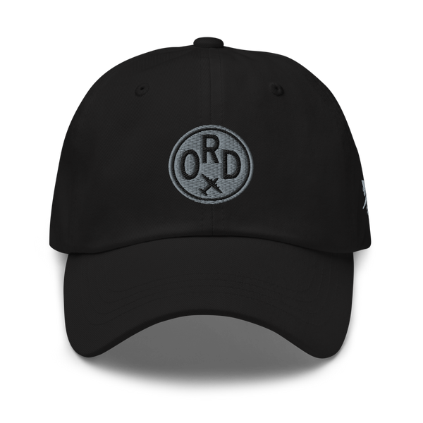 RWY23 - ORD Chicago Airport Code Dad Hat - City-Themed Merchandise - Roundel Design with Vintage Airplane - Image 1