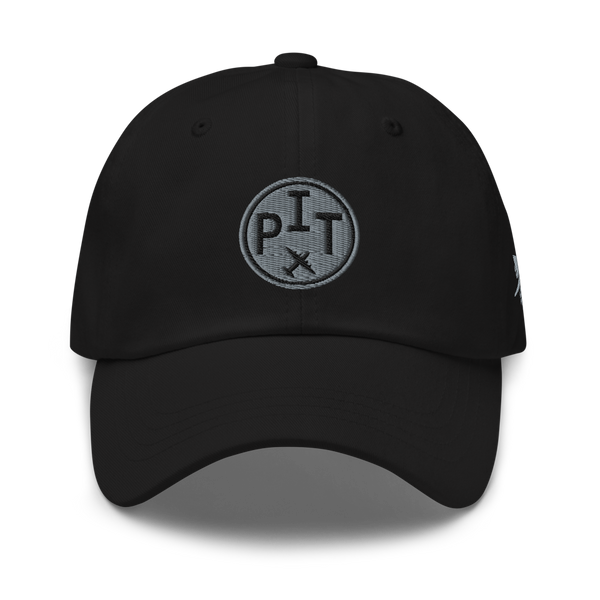 RWY23 - PHX Phoenix Airport Code Dad Hat - City-Themed Merchandise - Roundel Design with Vintage Airplane - Image 1