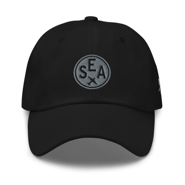 RWY23 - SEA Seattle Airport Code Dad Hat - City-Themed Merchandise - Roundel Design with Vintage Airplane - Image 1