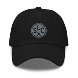 RWY23 - SLC Salt Lake City Airport Code Dad Hat - City-Themed Merchandise - Roundel Design with Vintage Airplane - Image 1